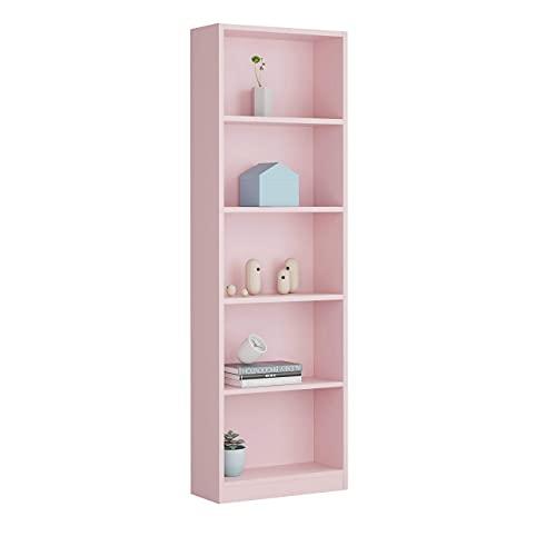 Habitdesign Estantería Juvenil 6 baldas, Librería Vertical, Modelo I-Joy, Acabado en Color Rosa Nube, Medidas: 180 cm...