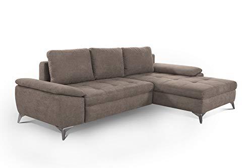 CAVADORE Schlafsofa Lina / Ecksofa mit Schlaffunktion, Bettkasten und Longchair / leichte Fleckentfernung dank Soft Clean / 270 x 85 x 163 / Taupe