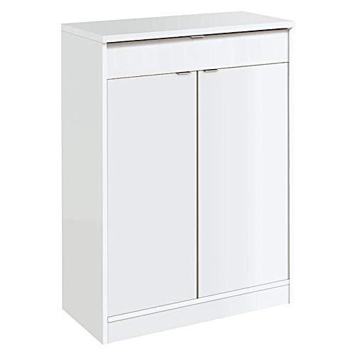 Muebles Pitarch Berlín Zapatero, Aglomerado de partículas y melanina de Alta Densidad, Blanco Alto Brillo, 101 x 75 x 36 cm