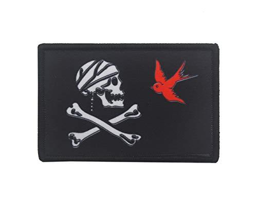 Jolly Roger Parche de calavera pirata y huesos cruzados tácticos militares muertos con impresión digital de gancho y bucle de bandera pirata para bicicleta, motocicleta y emblema de veneno