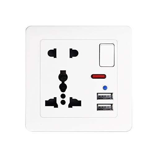 NKDD Enchufe de Pared estándar británico Control de Interruptor 13A Panel de 5 Orificios Toma de Pared Panel de Salida Blanco
