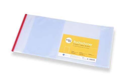 perfect line 12 x Buch-Hülle 26,3 x 54 cm, Heft-Schoner transparent, Glas-klar & extra stabil (145 µ), Umschlag mit Klebe-Kante & Einband, idealer Schul-Bedarf, Hüllen für Bücher