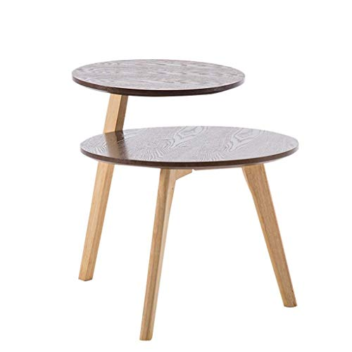 WJMLS Small Coffee Table Round Mid Century Vintage Side Table End Table for Living Room (Color : Brown)