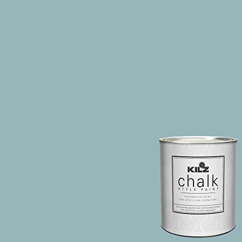 KILZ Interior Chalk Style Ultra Flat Decorative Paint for Furniture, 1 Quart, Blue Juniper