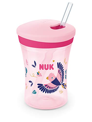 NUK Action Cup tazza per bambini con effetto camaleonte | 12+ mesi | Cangiante | Cannuccia morbida con chiusura a scomparsa | Anti-goccia | Senza BPA | 230 ml | Uccellino (rosa)