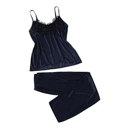 KaloryWee 2pc Ensemble De Lingerie Dentelle Soie Chemise De Nuit en Satin Pyjama Sexy Nuisette Mode Femme A La Maison Caraco Et Pantalon V-Neck Babydoll