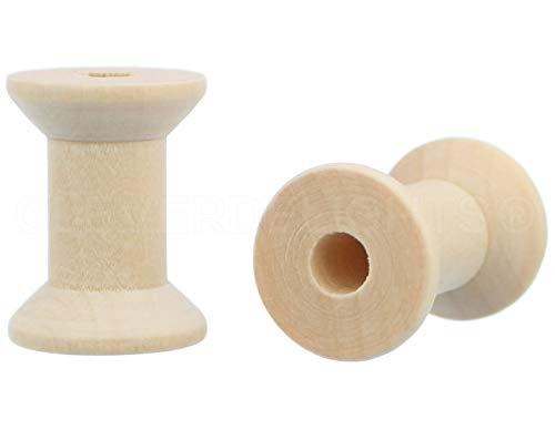 25unidades–CleverDelights 11/8'x 3/4' hilo de bobinas de madera bobinas–Pendientes de madera–Bobina Cable Alambre de costura