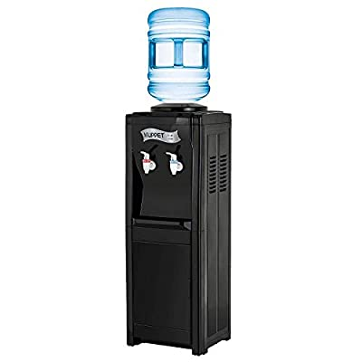 Water Cooler Dispenser-Top Loading Freestanding Water Dispenser with Storage Cabinet, 5 Gallon, Two Temperature Settings-Hot(185?-203?), Normal Temperature(50?-59?), BLACK(32'', Black)