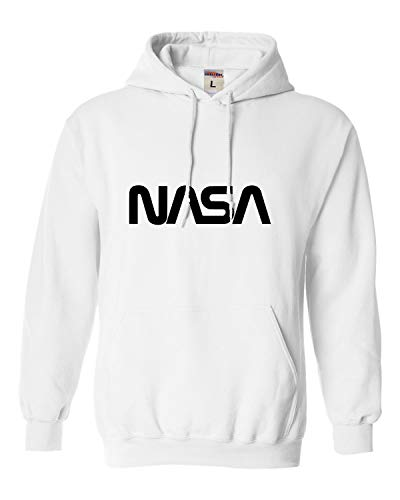 Go All Out Medium White Adult NASA Worm Logo Sweatshirt Hoodie