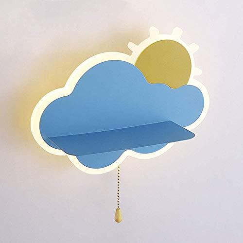 LED-Wandleuchte Cartoon-Stil Wandlampe mit Zugschalter, LED15W Warmes Licht Wolken Sonnenaufgang Nachttischlampe Kinderzimmer Leselampe Bettseite Wandlichter für Wohnzimmer Schlafzimmer Studie,Blau