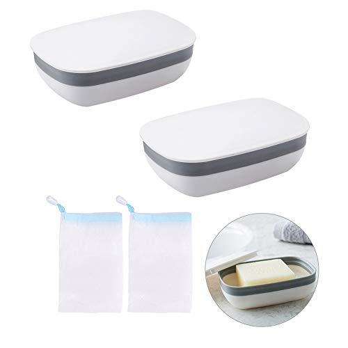 Seifendose Reise, Seife Reise Box Weiß Tragbare Wasserdicht Versiegelt Seifenhalter mit Abdeckung für Badezimmer Küche 2 Stücke,Seifennetzbeutel 2 Stücke