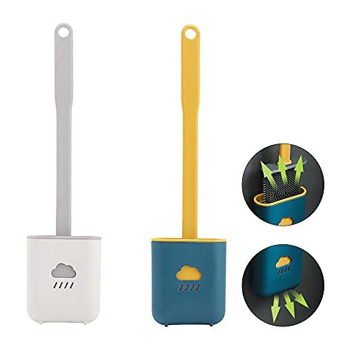 Scopino WC, 2 Pezzi Scopino e Supporto per Toilette Scopino per WC Silicone per Bagno Montaggio Parete (Blu e Grigio)