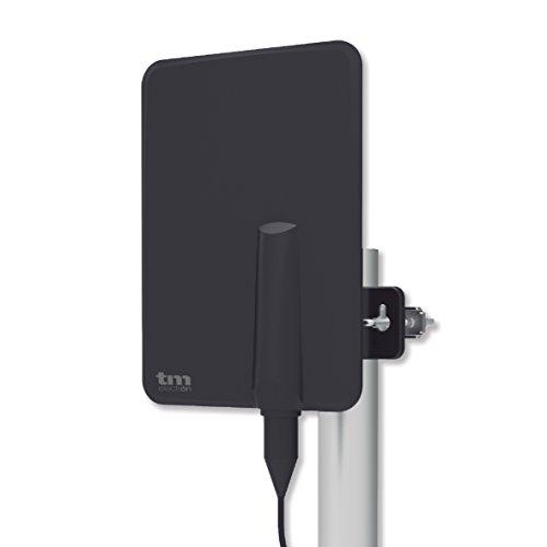 TM Electron TMANT015 Antena para Televisor de Interior o Exterior, con Amplificador Incorporado 40 dB, Ultra Compacta, Orientación 360º, Montaje en Pared o Mástil y Resistente a la Intemperie, Negro