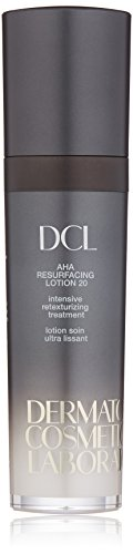 DCL Skincare AHA Resurfacing Lotion 20, 20% Glycolic Acid exfoliates while hydrating, reducing fine lines with Hyaluronic Acid, Vitamin E 1.7 Fl oz