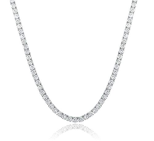 18 Inch Tennis Chain 18K White Gold Plated | 4.0mm Round Cubic Zirconia Cut Tennis Necklace for Women and Men