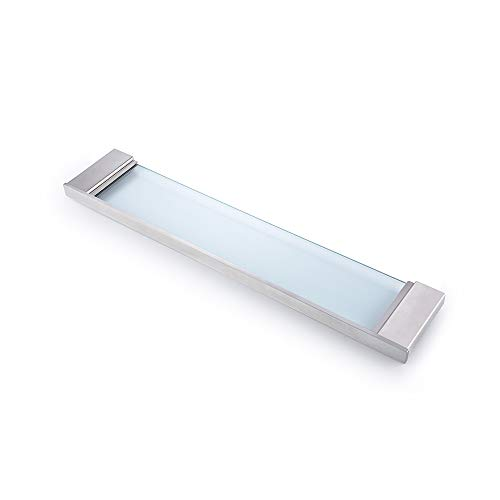 QT Modern Bathroom Glass Shelf - Wall Mounted, Brushed Finish, Made From Stainless Steel, Water and Rust Proof, Easy to Install
