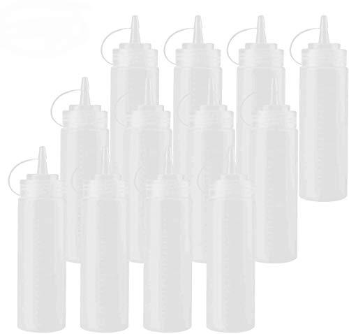 Tebery Lot de 12 bouteilles de condiment en plastique avec bouchon torsadé et mesures discrètes pour ketchup, sauce barbecue, vinaigrette décoration de crêpes et peinture 236,5 ml