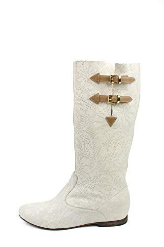 Botas altas para mujer de cabra laserada, color crema Blanco Size: 44 EU