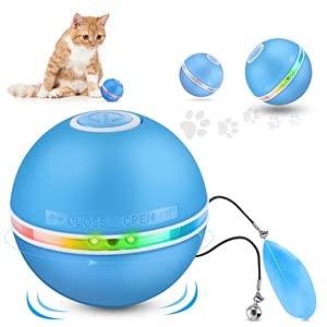 DazSpirit Katzenspielzeug Interaktives Katzenspielzeug Ball Elektrisch Katzenbälle Mit Led-Licht, Elektrisches Katzenspielzeug Ball Spielzeug Für Katze Und Hund, 360-Grad Drehender Katzenbälle, Weiß
