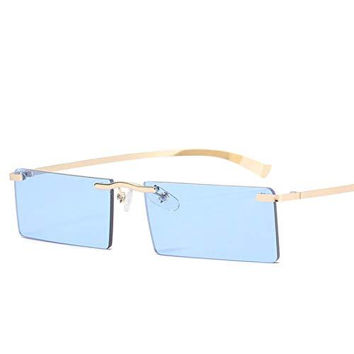DLSM Rectángulo de Gafas de Sol FETRO Pinto Amarillo Simple Metal Estilo UV400 Anti Ultravioleta Pesca Gafas de Pesca-Azul