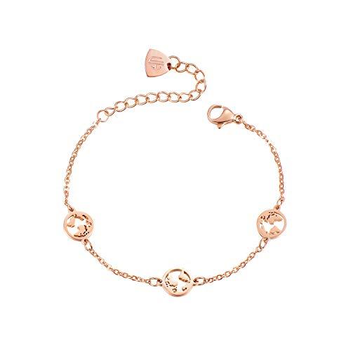 URBANHELDEN - Armband mit runden Weltkarten Anhängern - Hochwertiger Armschmuck - Edelstahl Armkette - Damenarmband Schmuck - Drei Weltkarten - Rosegold