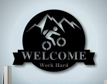 Not Branded Personalized Metal Mountain Bike Sign, Family Name Metal Sign,Metal Triathlete Sign, Custom Last Name Sign, Personalized Metal Wall Decor