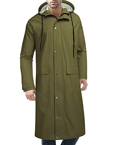 COOFANDY Men's Rain Jacket with Hood Waterproof Lightweight Active Long Raincoat