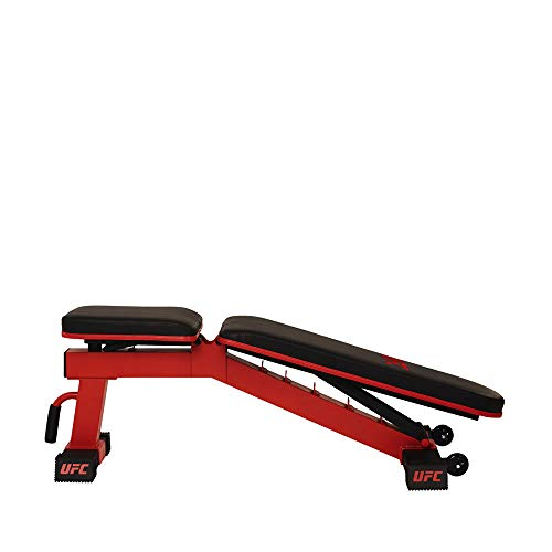 UFC DELUXE FID Weight Bench, Adjustable Full Body Workout Strength Training Flat, Incline, Decline, Abs Bench Press. Built in Transport Handle and Wheels, Easy to Store for Home Gym