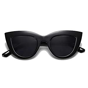 b3f2d726e0  9 SOJOS Retro Vintage Cateye Sunglasses for Women Plastic Frame Mirrored  Lens SJ2939 with Black Frame Grey…
