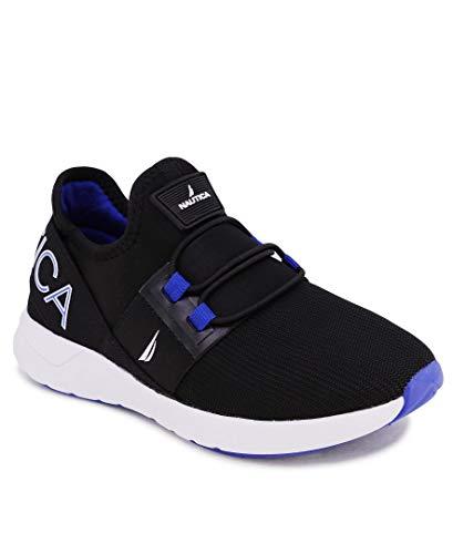 Nautica Zapatillas deportivas deportivas para niños con cordones elásticos para correr | niño - niña | (niños grandes/niños pequeños/niños) - Neave/Kappil, negro (Relieve negro cobalto), 34 EU