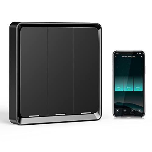 Wifi Interruptor Alexa 3 Gang, Etersky Interruptor Inteligente Compatible con Alexa y Google Home, Interruptor Pared Luz Control APP, Smart Home Interruptor Tactil con Temporizador, Neutral Requerido