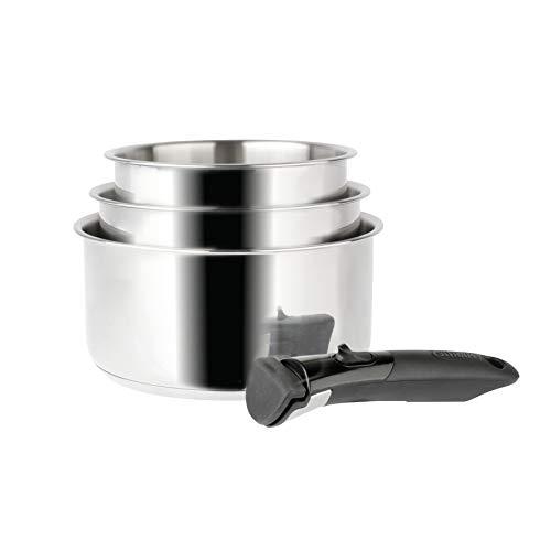 Sitram 713511 SITRAM-713511-Lot 3 casseroles 16+18+20cm Sitramovible Arpège en INOX, poignée Amovible-Tous Feux Dont Induction