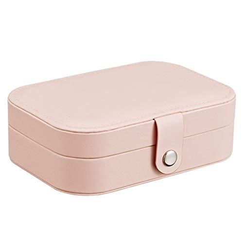 Organizador de maquillaje Embalaje Caja de almacenamiento de cosméticos Joyería Ataúd Maquillaje Portátil Pendientes de Cuero Organizador de Anillo de Joyería Multifunción (Color: Rosa)