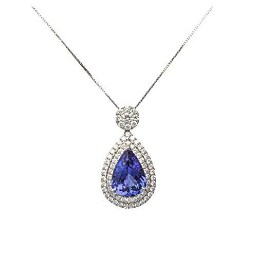 Gin & Grace El oro blanco 18K genuino diamante Tanzanita (SI1) Collar de la Mujer