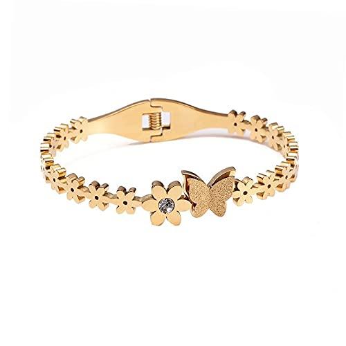 XiaoYing Pulsera de acero inoxidable para mujer, diseño de flores, para bodas, fiestas, joyas de regalo (color dorado, diámetro: 56 – 58 mm)