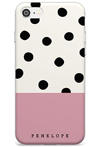 Rosa Border Personalizzata Pois Slim Cover per iPhone 6 TPU Protettivo Phone Leggero con Custom Spots Nome Unico Personale