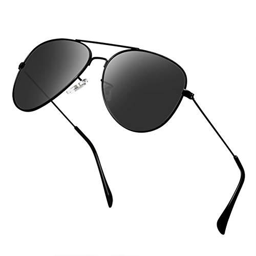 Polarized Aviator Sunglasses for Men Metal Mens Sunglasses Driving Unisex Classic Sun Glasses for Men/Women Black