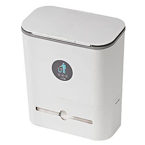 Pattumiera da cucina da appendere, 10 litri con coperchio, pieghevole, mini bidone della spazzatura da parete per armadietti, auto, camera da letto, bagno, plastica (grigio bianco)