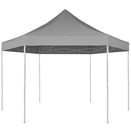 SOULONG Pop-Up-Pavillon 6-eckig, grau, 3,6 x 3,1 m
