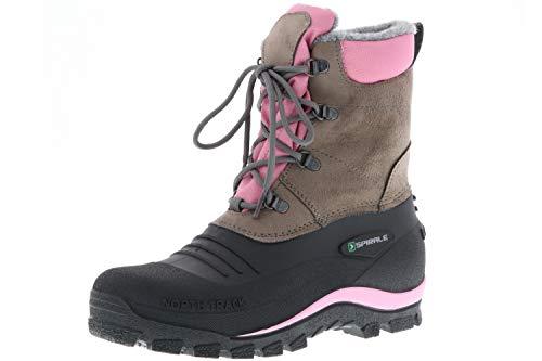 SPIRALE Damen Winterstiefel Snowboots schwarz/braun/rosa, Größe: 39 Farbe: Rosa