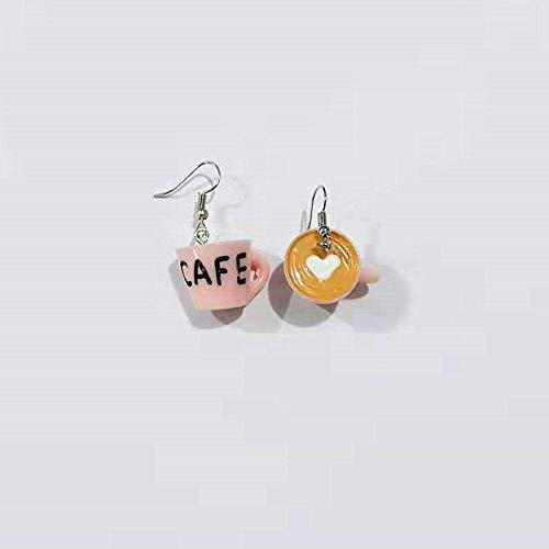 HBHBS Lustige kreative Herz Kaffee Knödel Ei Nudeln Ohrringe personalisierte Harz Essen baumeln Ohrringe für Frau handgemachte Jewelry-pink_Coffee