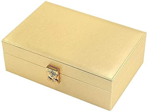 Caja de organizador de joyería exquisita - Mujeres de dos capas de exhibición de la capa grande PU Soporte de joyería de cuero con cerradura para pendiente anillo collar pulsera joyería caja (color: n