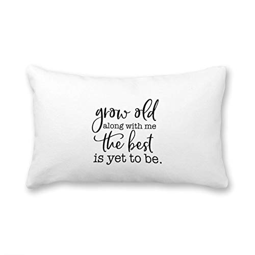 Canvas Bolster Pillow Covers Cases for Couch Sofa Home Decor Modern Cushions Abstract Design Zip Grow Old Along with Me The Best is Yet to Be