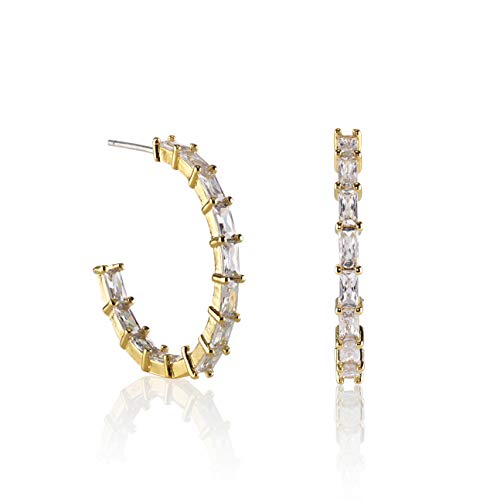 Namana Pendientes de Aro con Circonitas. Grandes Aros de 25mm con Piedras Color Plata o Bañados en Oro de 14 Quilates para Mujer (Oro, Chapado en oro)