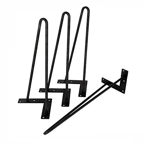 4 Piezas Three-Rod horquilla Metal de las patas de la mesa,Patas Mesa Patas Hairpin Con Tornillos y Bases Protectoras DIY Piernas de Escritorio de Horquilla Para mesa de café, barra de bar (60cm/24in)