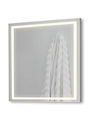 Espejo de baño Cuadrado 80x80cm, función antivaho, Perfil LED de 28.5W Integrado Alrededor del Espejo. Luz Natural (4000 K) de eficiencia energética A+. Ideal para baño o Cualquier Otra Estancia.