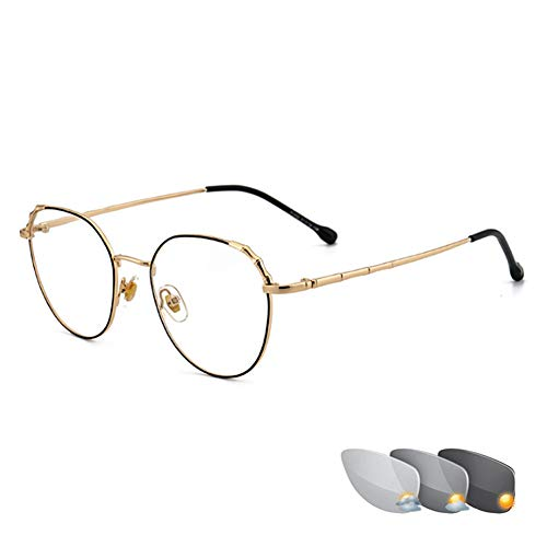 Photochrome Lesebrille für Damenmode, intelligente, multifokale Progressive Dioptrienbrille, farbwechselnde Brillen, goldene Umrandung, Elegante, komfortable, hochauflösende, doppelte Sonnenbrille