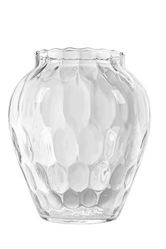 KUBUS Vaso da fiori e portacandele in vetro, 19,5 cm, vaso in vetro con bellissimo motivo, robusto per centrotavola, matrimonio, soffiato a bocca