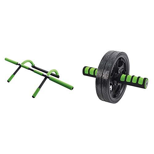 Schildkröt Fitness Multifunktions-Türreck 4 in 1, Multifunktional verstellbar, max. 100 kg, 960044 & AB Roller, Bauchtrainer, Duo Wheel Trainer, in 4-Farb Karton, 960045