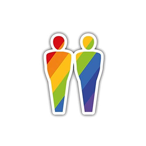 RUIRUI Kreativer Regenbogen-Paar-Autoaufkleber-Aufkleber 7,5 cm * 10,3 cm